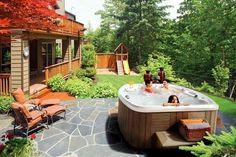 Hot tub landscaping ideas backyard hot tub above ground pool and hot tub deck ideas backyard