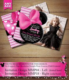 Pink Chevron Minnie Mouse PRINTABLE Birthday Invitation, DIY Minnie Mouse Party Printable, Chevron Minnie Mouse Photo Invitation