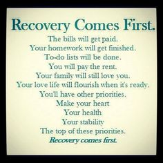 Recovery comes first
