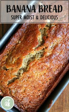 This is the best banana bread — I got the recipe from a college friend's mother who brought the bread to every lacrosse game. We devoured this bread — it is super moist perfectly sweet and always was first to disappear from the dessert buffet. Nut Bread Recipe, Easy Bread Recipes, Banana Bread Recipes, Keto Bread, Banana Bread Recipe 3 Bananas, Banana Bread With Buttermilk, Banana Bread Recipe Pioneer Woman, Overripe Banana Recipes, Brown Sugar Banana Bread