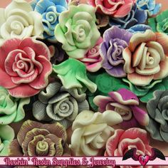 5 pcs Polymer Clay ROSE flatback Cabochons or Beads, polymer clay flower beads…