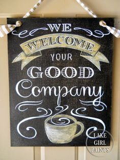 Lake Girl Paints: Coffee Sign - Good Company - Sanding Canvas- has detailed tutorial, well written, pictures, easy to understand Coffee Chalkboard, Chalkboard Lettering, Chalkboard Signs, Chalkboards, Blackboard Menu, Chalk It Up, Chalk Art, Coffee Cafe, Coffee Shop