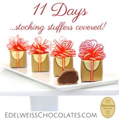 11 days until Christmas! Truffle box stocking stuffers: If you still haven't crossed everyone off your holiday gifts list, visit Edelweiss Chocolates. We've been making fine handmade chocolates in the heart of Beverly Hills since 1942.