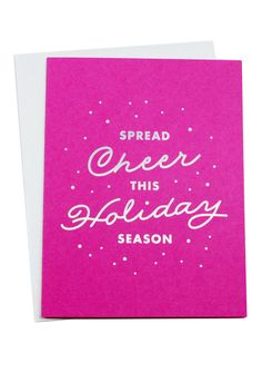 """Don't be a Scrooge! Spread some holiday cheer with this vibrant card. Dimensions: Measures 4.25"""" x 5.5"""" Details: Thick colored stock with coordinating envelope. Allison and Jessica of The Social Type"""