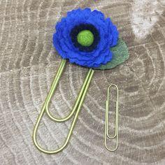 JUMBO blue felt flower paperclip by bunnysmarketplace on Etsy https://www.etsy.com/listing/556929208/jumbo-blue-felt-flower-paperclip