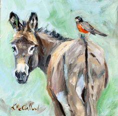 Burro And bird....stubborn and set in ways vs. free spirit.  Opposites do attract. :)
