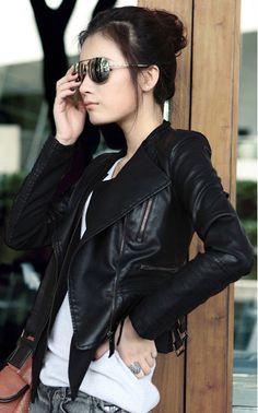 Layered Lapel Biker Jackets in PU Leather Style Me, Cool Style, Fashion Outfits, Womens Fashion, Fashion Tips, Leather Jacket, Pu Leather, Jacket Jeans, Moto Jacket