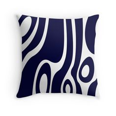 #Monochrome #Organic #Forms #Abstract #ThrowPillow, in #white and #darkblue. Availbale on #redbubble.