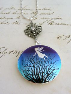 Locket Necklace Silver Fairy Retro Purple by chloesvintagejewelry, $29.50