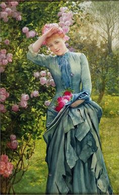 ⊰ Posing with Posies ⊱ paintings of women and flowers | KD - artist unknown