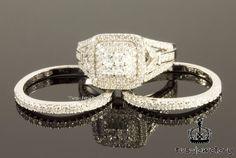 10K White Gold Princess Cut Diamonds Engagement Ring Bridal Set  2.10 Ct #tvsjewelery