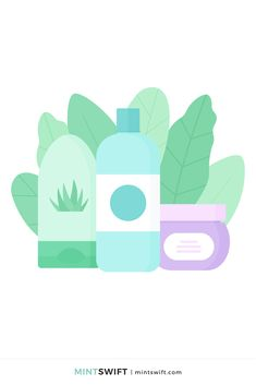 366 Days of Illustration Challenge - Day 154 - MintSwift | One year of vector illustrations challenge. Flat design vector illustration of a shower gel, shampoo & hair mask with leaves composition. View more at mintswift.com #mintswift by Adrianna Leszczynska #illustration #illustrationchallenge #flatillustration #vectorart  #illustrator #flatdesign #vectorillustration #digitalillustration #mintswiftportfolio #mintswiftillustrations #366daysofillustrationchallenge Vector Art, Vector Illustrations, Web Design Packages, Web Design Studio, Flat Design Illustration, Freelance Illustrator, Business Branding, Print Design, Graphic Design