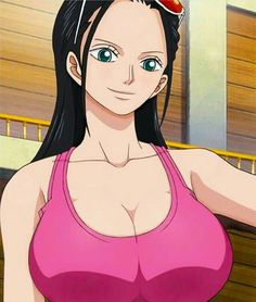 black_hair blue_eyes breasts cleavage eyewear_on_head female large_breasts long_hair nico_robin one_piece screencap solo stitched sunglasses tank_top upper_body One Piece Manga, One Piece Series, One Piece Drawing, Nami One Piece, One Piece World, One Piece Fanart, Nico Robin, Thicc Anime, Chica Anime Manga