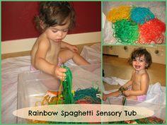 Love, Play, Learn- Rainbow Spaghetti Sensory Play