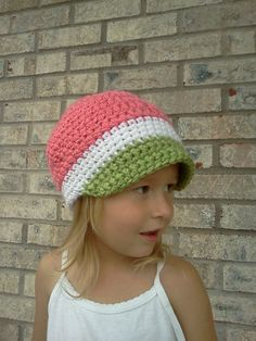 hat #crochet - summer watermelon hat?