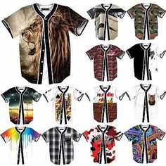 Cool Stylish 3D Graphic Baseball Jersey Casual Shirts Mens T-Shirt Tee Sweat Top