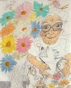 "I'm into Art Therapy Contour Drawing: Elizabeth ""Grandma"" Layton - April 29, 1987"