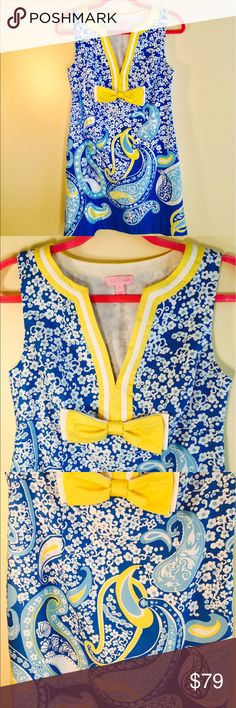 """Lilly Pulitzer dress Absolutely adorable summer dress. Colors- sky blue, bright blue, aqua, yellow, white.Zipper on the side. Shoulders 13, pit to pit 17.5, length -  shoulder to hem 33.5"""". Lined 100% cotton, shell 100% cotton. Presents like new, worn once or twice. Lilly Pulitzer Dresses"""