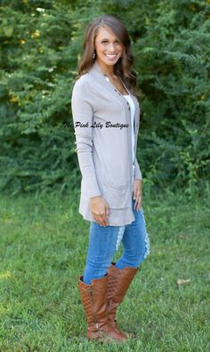 The Pink Lily Boutique - Solid Reputation Mocha Cardigan With Pockets , $34.00 (http://thepinklilyboutique.com/solid-reputation-mocha-cardigan-with-pockets/)