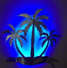 Palm tree, wall sconce, wall light, beach house decor, LED backlight, metal wall art, salt life, beach life, ocean life, island decor.