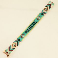 Personalized Name Bead Loom Bracelet Artisanal Jewelry Southwestern Native American Motif Jewelry Western Beaded Gypsy Boho BohemianThis Personalized Name Bead Loom bracelet was inspired by the Native American patterns I see and love around me here i Loom Bracelet Patterns, Bead Loom Patterns, Beaded Jewelry Patterns, Beading Patterns, Rainbow Loom Bracelets, Bead Loom Bracelets, Bracelet Crafts, Bead Loom Designs, Beadwork Designs