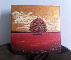 Acrylic Painting gold and copper Lone Tree 30x30cm by AlexandraMarionArt on Etsy