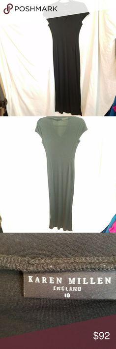 KAREN MILLEN black maxi dress Excellent condition  Size 10 (uk) Long maxi dress V neck Cap sleeves  Slits at bottom hem on both sides Karen Millen Dresses Maxi