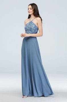 97084cea7b9 Flounced Crinkle Chiffon Sheath Bridesmaid Dress Style F19773 ...