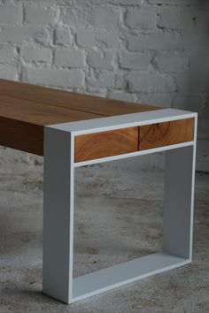 A solid oak and steel bench. Made entirely by hand with attention to every detail. Ready to ship and on sale. Wood And Metal Desk, Reclaimed Wood Benches, Metal Furniture Design, Steel Bench, Iron Furniture, Steel Furniture, Modern Wood Furniture, Metal Furniture, Wood Chair Design