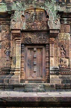 Ancient Doors of Temple for the Feminine, Angkor, Cambodia Cool Doors, Unique Doors, Entrance Doors, Doorway, Door Knockers, Door Knobs, Windows And Doors, The Doors, Gates