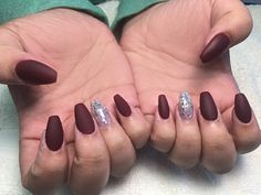 Matte Burgundy and Silver Glitter over Acrylic Coffin shape