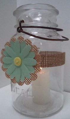 10 Mason Jar Mint & Yellow Burlap Wedding Candle Centerpiece Decorations N17