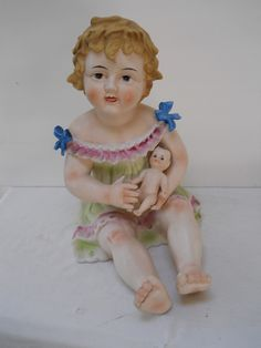 Vtg Large Piano Baby Figurine Holding A Doll Bisque Porcelain   eBay