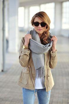 khaki jacket and grey scarf