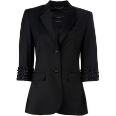 PHILIPP PLEIN Fitted blazer ($975) ❤ liked on Polyvore featuring outerwear, jackets, blazers, tops, coats, philipp plein, 3/4 sleeve blazer, fitted blazer, three quarter sleeve blazer and philipp plein jacket