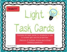 40 task cards for upper elementary/middle school students to review properties of light
