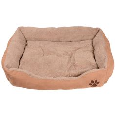 Rectangular tan and light brown pet bed with embroidered paw detail.