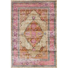 Lend Old World appeal to your entryway or den with this lovely rug, showcasing a medallion-inspired motif and weathered details.Co...