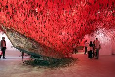 Chiharu Shiotai with Venice Biennale, First Photo, Tours, Japan, Sculpture, Red Art, Painting, Binder, Design