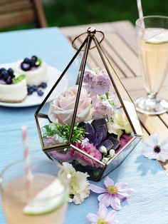 This diamond candle holder lantern from the Collection range can be filled with flowers, succulents or tealights for a chic-boho table decoration.
