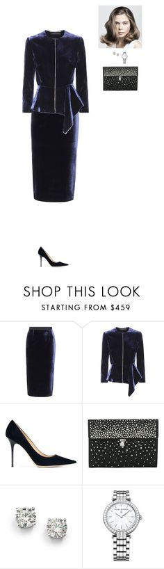 """Outfit 172"" by mickeysmit ❤ liked on Polyvore featuring Roland Mouret, Jimmy Choo, Alexander McQueen, Saks Fifth Avenue and Harry Winston"