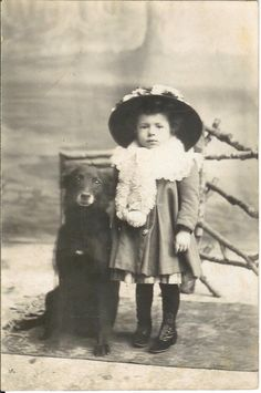 Child w Belgian sheepdog GROENENDAEL dog RPPC real photo postcard