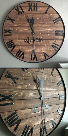 I love everything about this rustic wood clock. Especially the hand cut metal numbers and established year. #farmhouse #ad #rustic