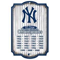 """NEW YORK YANKEES 27X TIME WORLD SERIES CHAMPIONS WOOD SIGN 11""""x17"""" NEW WINCRAFT"""