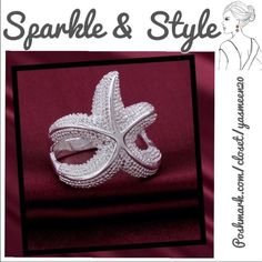 🌟Sterling silver starfish ring🌟 Cute starfish ring! Sterling silver, 925 stamped.🌟NEW🌟Size 8 Jewelry Rings