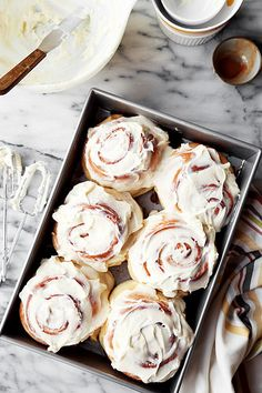 The Classics: Cinnamon Rolls. Traditional sweet yeast bread filled with butter, cinnamon, and sugar. Topped with cream cheese frosting! (cinnamon rolls without yeast cream cheeses) Breakfast Recipes, Dessert Recipes, Breakfast Ideas, Snacks, Cinnamon Rolls, Cinnamon Roll Icing, Sweet Tooth, Sweet Treats, Food Porn