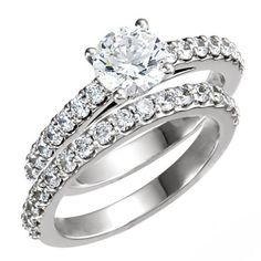 Brilliant Round Cut Prong Set Accented Design Wedding Ring Set in SOLID 14K Gold