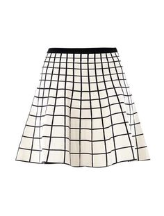 Grid Intarsiaknit Skater Skirt - Lyst