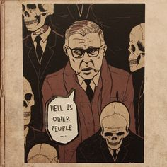 """Sartre Hell is other people 1.4"""" Soft Enamel Pin – miles to go clothing"""