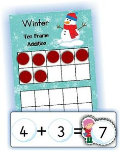 Math Centers - Winter (Beginning Skills) 127 pages. A page from the unit: 10 Frame addition Ten Frame Activities, 1st Grade Activities, Kindergarten Math Activities, Winter Activities, 10 Frame, Ten Frames, Daily 5 Math, Math Magic, Math Strategies